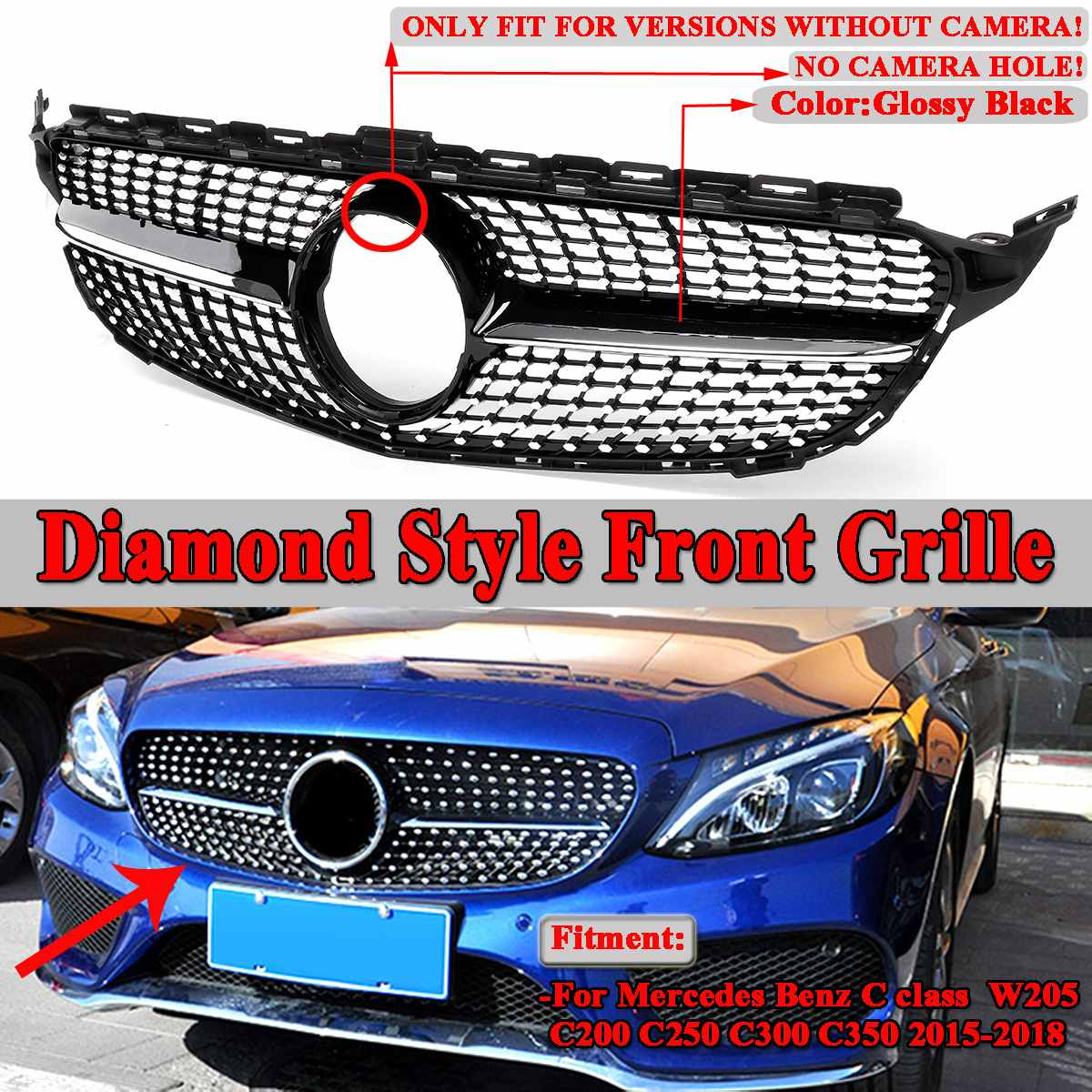 New Diamond Grille Car Front <font><b>Bumper</b></font> Mesh Grille Grill For Mercedes For <font><b>Benz</b></font> <font><b>W205</b></font> C Class C200 C250 C300 2015-2018 image