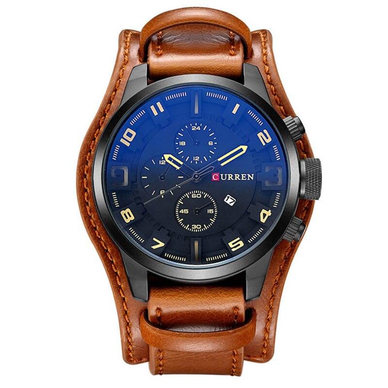 Famous Brand Men Quartz Watch Three Dial Faux Leather Vintage Business Watch Sport Waterproof Wrist Watch Clock Montre Homme