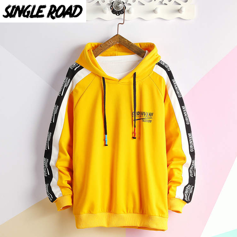 SingleRoad Men's Hoodies 2020 Oversized Japanese Streetwear Sweatshirt Hip Hop Harajuku Sweatshirts Male Anime Yellow Hoodie Men