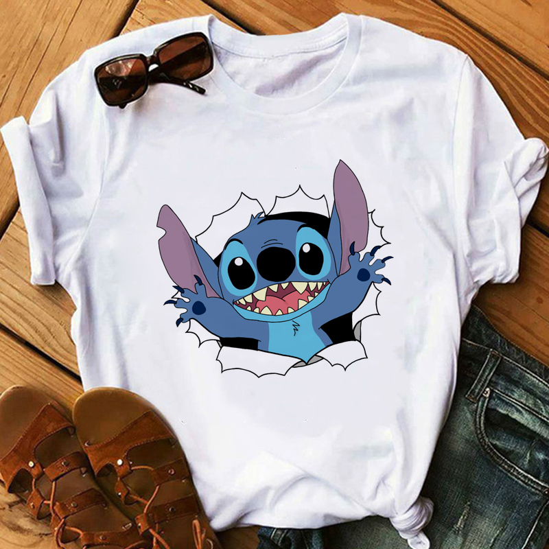 Harajuku Kawaii Tshirts Lovely Cartoon Female Printed Casual T Shirt Cute  Casual Tops New Womens Fashion T-Shirt Lilo Stitch
