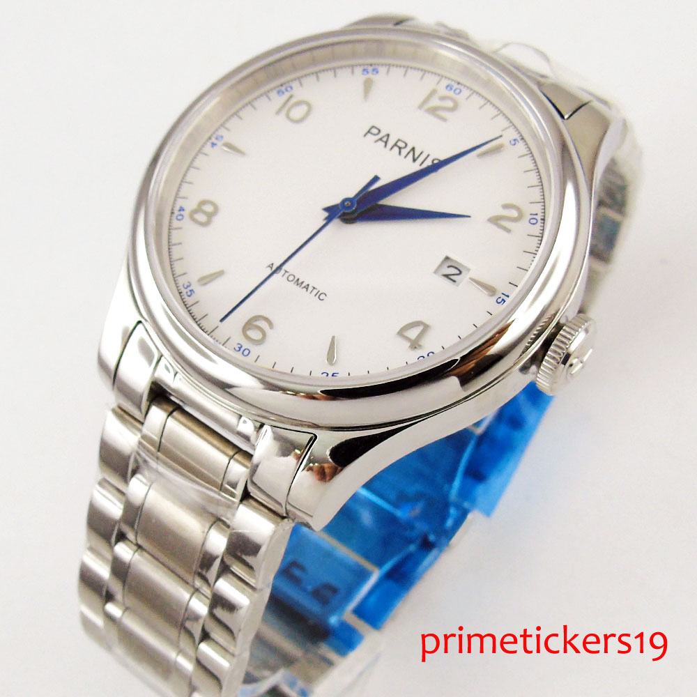 Blue hands 38mm PARNIS white dial date sapphire glass round case automatic mens watch P723 image