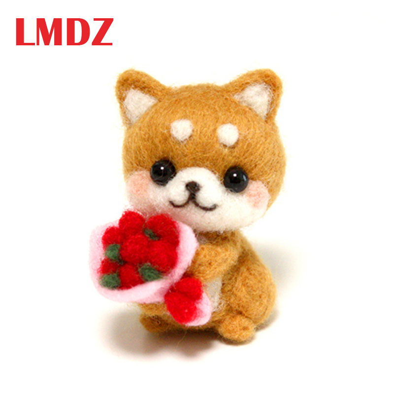 LMDZ 1Pcs Non-finished DIY Accessories Felt Poke Handmade Needle Wool Felt Kits Material Package Dog Animal Poked Doll Feltings