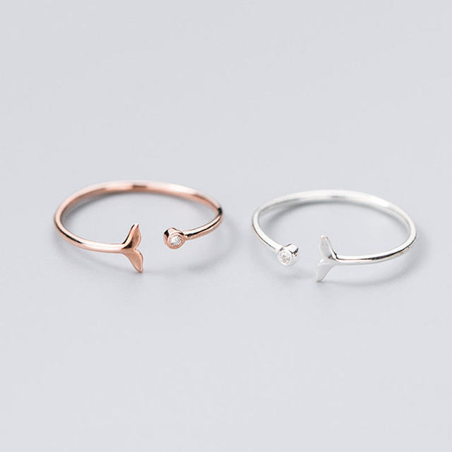 INZATT prawdziwe 925 Sterling Silver Fish Tail cyrkon pierścień dla moda kobiety Party śliczne doskonałe akcesoria do biżuterii urodziny prezent