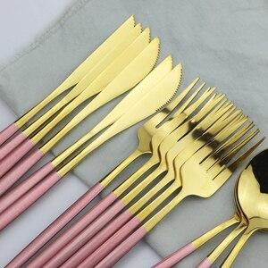 Image 3 - 24Pcs Black Gold Cutlery Set 18/10 Stainless Steel Dinnerware Set Colorful Knife Fork Spoon Tableware Kitchen Dinner Silverware