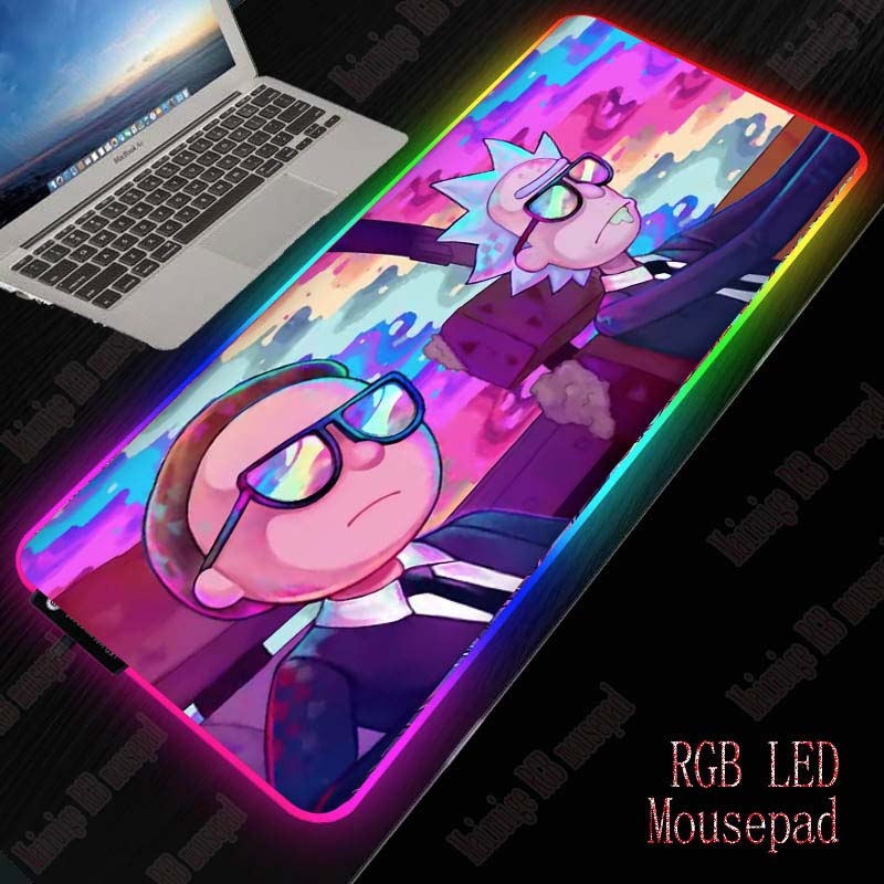 XGZ Anime Ricka and Morty Large RGB LED 7 Color USB Wired Lighting Gaming Gamer Colorful Mouse Pad for Laptop Computer Desk Mat 1
