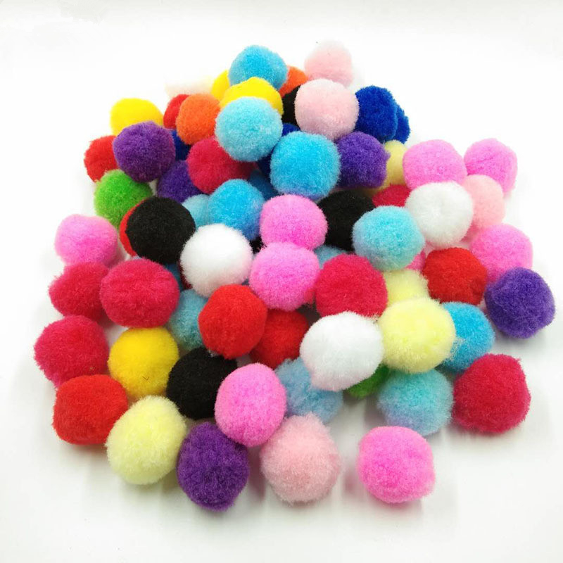 100pcs/lot 20/25/30mm Mini Colour Mixture Fluffy Soft Pompoms Ball Home Decor Sewing Supplies Crafts DIY Material