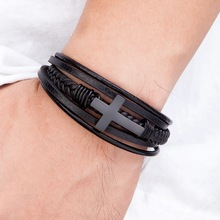 Classic Style Cross Men Bracelet Multi-Layer Stainless Steel Leather Bangles Magnetic Clasp For Friend Fashion  Jewelry Gifts