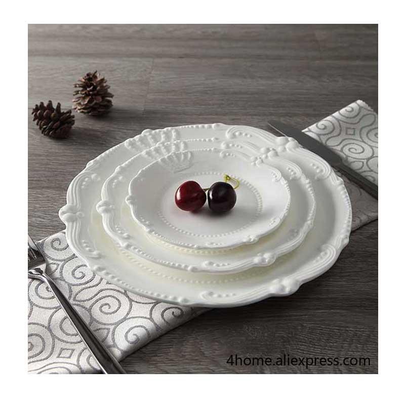 Assiette à dîner en céramique en Relief | Assiette principale en porcelaine blanche solide, assiettes à dessert