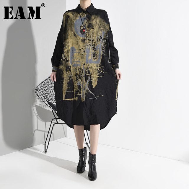 Black spatter Print Split Big Size  Dress lapel Long Sleeve Loose Fit  1