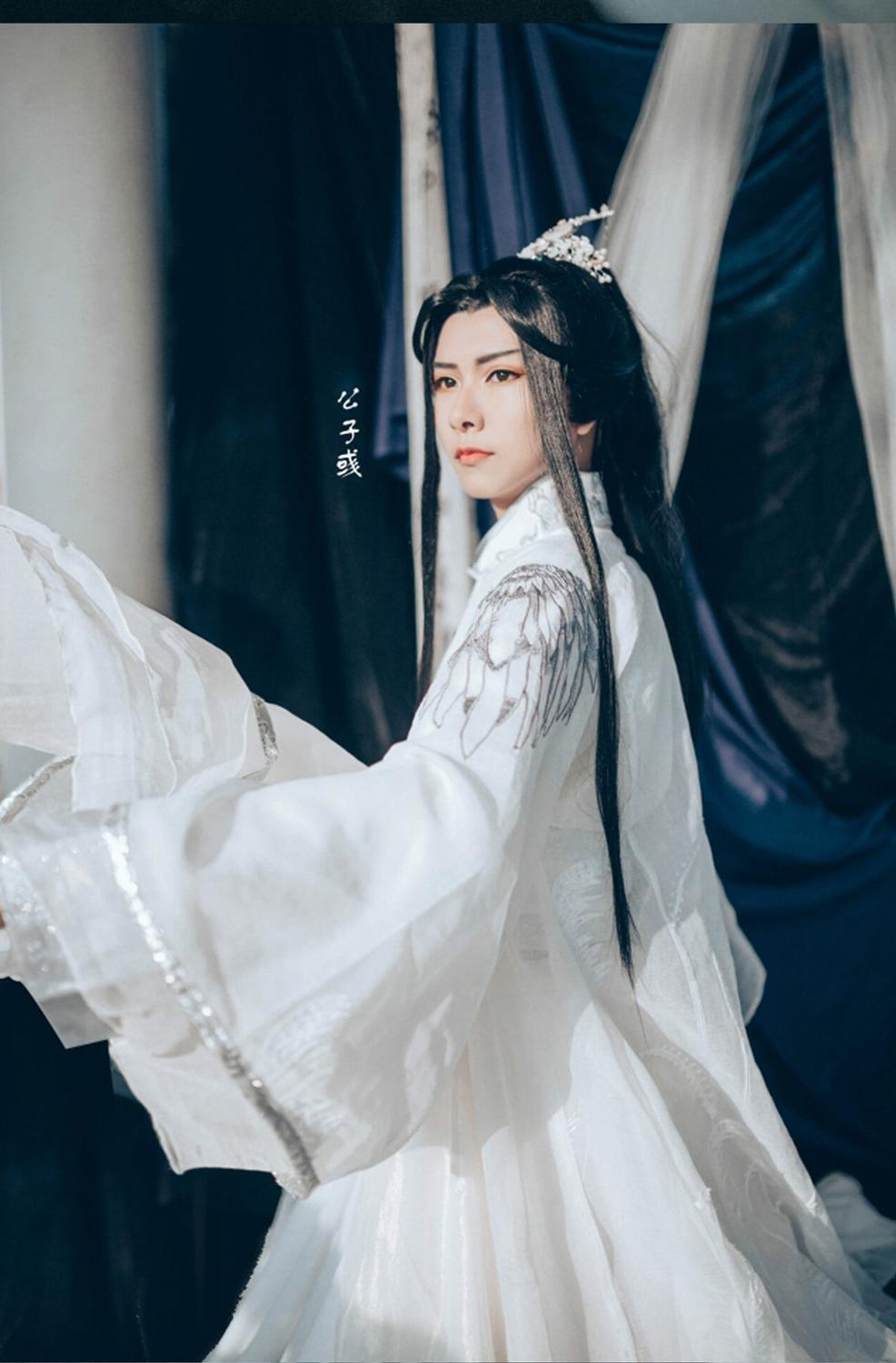 Chu Wanning Embroidery White Prince Costume Hanfu Immortal White Cat Master Cos Bai ZiHua Cosplay Hanfu Male Swordman Costume
