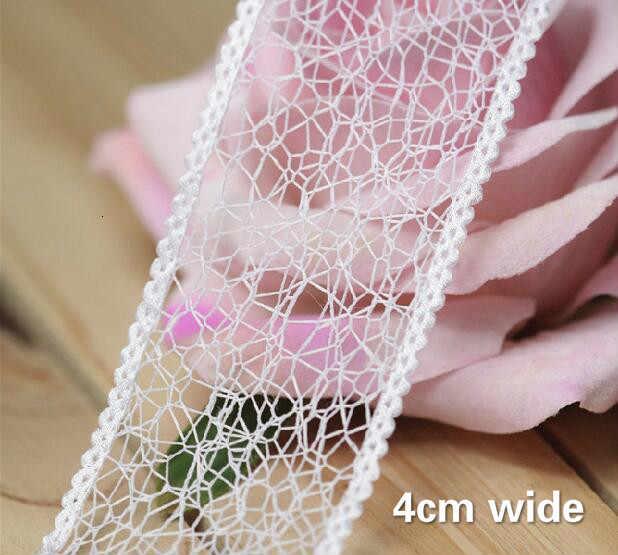 4 センチメートルワイド新白中空刺繍の花のチュールレース Fabric Trim Ribbon Diy ミシンアップリケ襟ウェディングドレスギピュールレース装飾