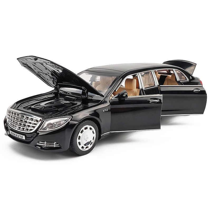 1:32 Logam Mainan Model Mobil Maybach S650 Alloy Mobil Diecasts Kendaraan dengan Suara Lampu Mundur Mobil Mainan Koleksi anak-anak Hadiah