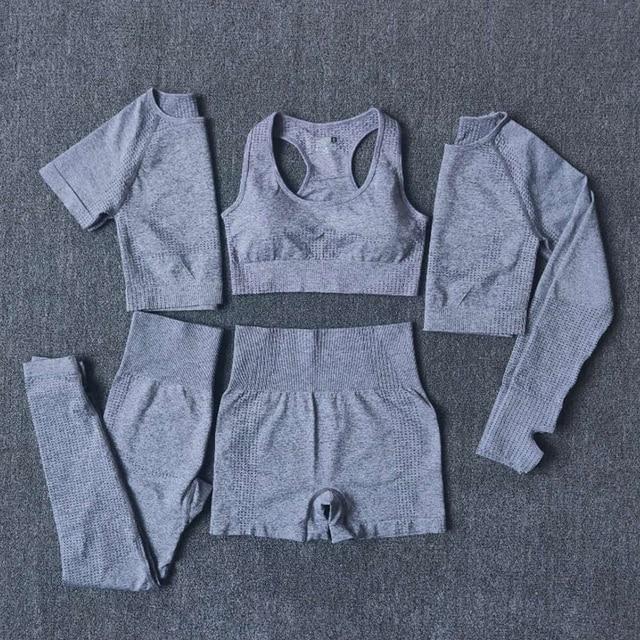 2/3/5PCS Seamless Women Yoga Set Workout Sportswear Gym Clothing 2