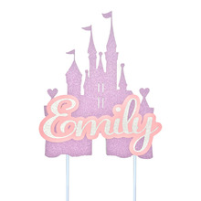 Giltter Paper Cake Topper Custom Princess Theme Birthday Cake Decorations Kids Girl Baby Shower Personalized Any Name and Age