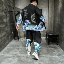 Japońskie kimono tradycyjne na co dzień luźne cienkie zestaw płaszcz i spodnie azjatyckie ubrania harajuku w stylu Vintage drukuj kardigan kimono mężczyzn tanie tanio YI NA SHENG WU CN (pochodzenie) COTTON Trzy czwarte YLED28187 Leisure Cropped trousers coat Seven points summer 68 ( ) black