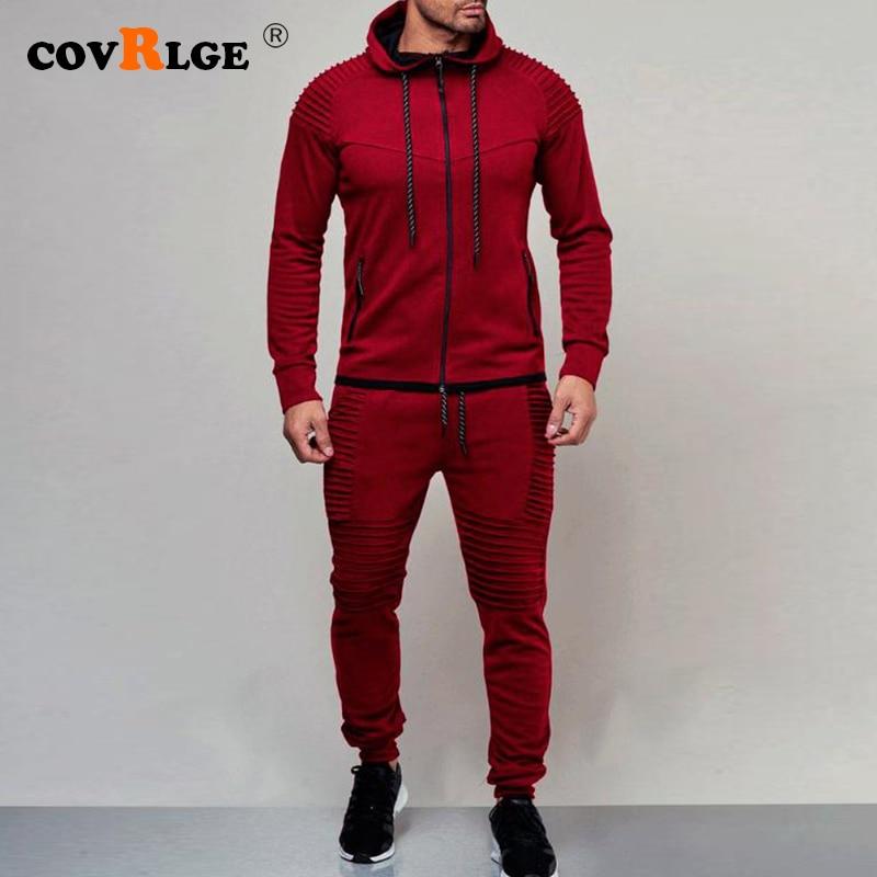 Covrlge 2019 New Solid Men Sets Casual Patchwork Jacket Men 2Pcs Tracksuit Sportswear Hoodies Sweatshirt Pants Suit MSX009