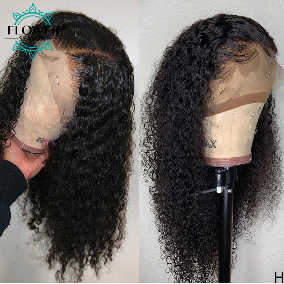 Curly Lace Front Wigs  With Baby Hair 13x4 Lace Frontal   150% Preplucked Bleached Knots Flowerseason 3
