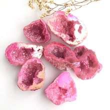 Натуральный камень aura agate geode Минеральные Кристаллы лечебные