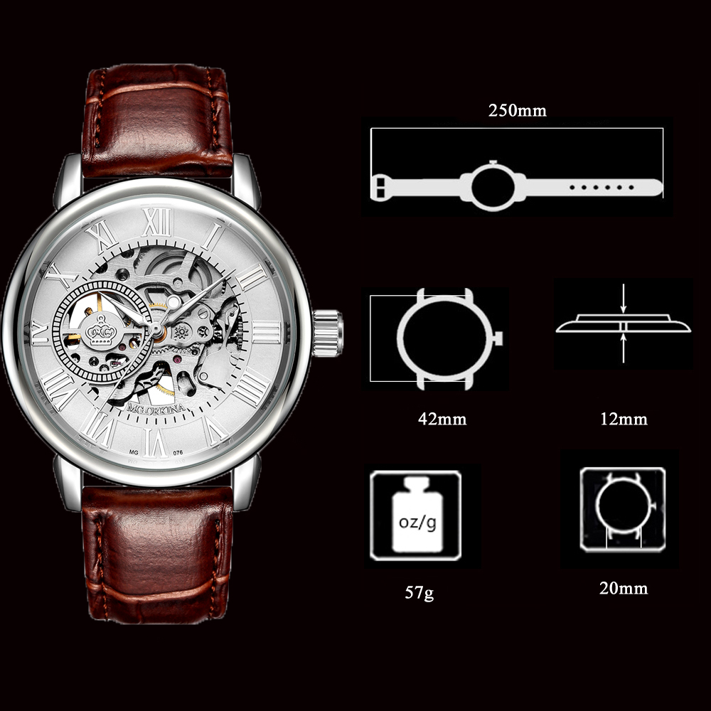 H4c304bcd0b8b475494dd7ac56a5df9743 Coupons Sale Men Watches Mechanical Hand Wind Luxury Top Brand ORKINA Skeleton Stainless Steel Bracelet Mesh Strap Men's Watches