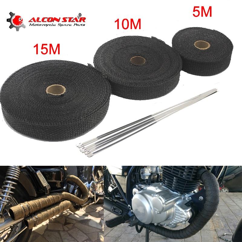 Alconstar-5 M/10 M/15 M escape de motocicleta cinta térmica cabezal envoltura térmica colector aislamiento rollo resistente con bridas de acero inoxidable