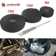 Tubo de escape de motocicleta Alconstar- 5M/10M/15M, cabezal de cinta térmica, Colector de envoltura de calor, rollo de aislamiento resistente con bridas inoxidables