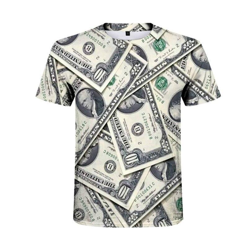 Männer der mode 3D digitaldruck kurzen ärmeln, banknote grafiken, mode persönlichkeit, reiche und glück kleidung