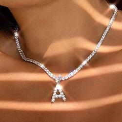 Caraquet Ice out A-Z Letter Initial Pendant Necklace Silver Color Tennis Chain Choker Necklace Female Fashion Statement Jewelry