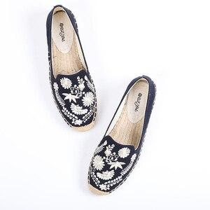 Image 4 - Calçados de tecido de cânhamo femininos, sapatos da plataforma forma do dedo redondo da primavera/verão 2019