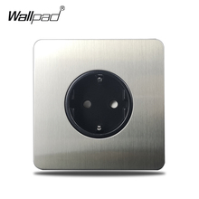 Wallpad Satin Chrome EU Socket Wall Electric Outlet Brushed Silver Stainless Steel Panel H6 Series