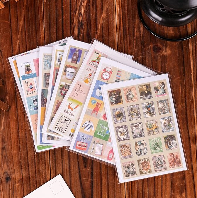 4sheets/pack Four Fold Stamp Sticker Scrapbooking For Children Factory Direct Sales Small Stickers