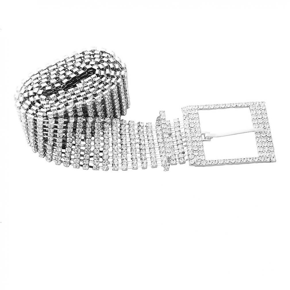 Womens Fashion Belts 10 Rows Full Rhinestone Shiny Waistband Casual Party Dress Belt Chain New