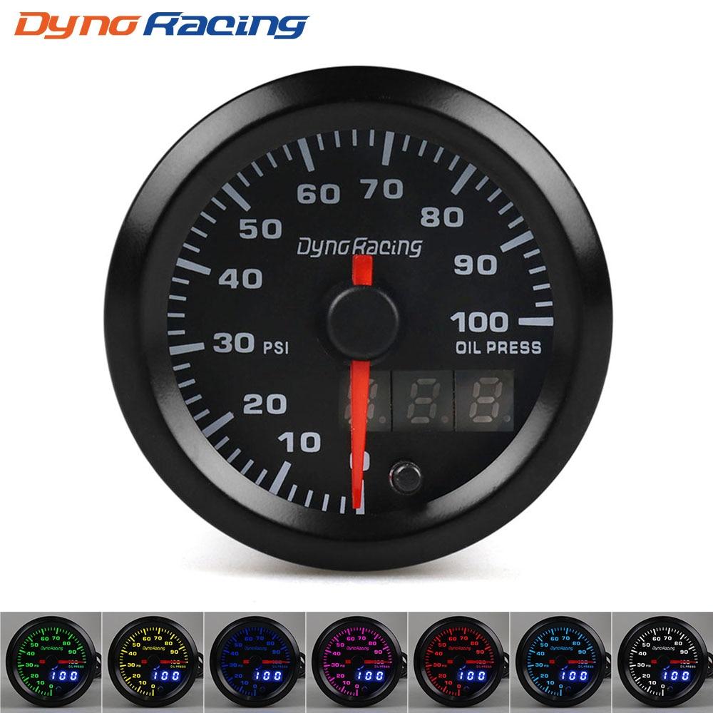 Dynoracing-2-52mm-Dual-Display-Oil-pressure-gauge-7-colors-Led-0-100PSI-Oil-press-gauge