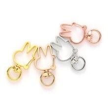 20 шт 18*36 мм металлический розовый золотой цвет милый кролик