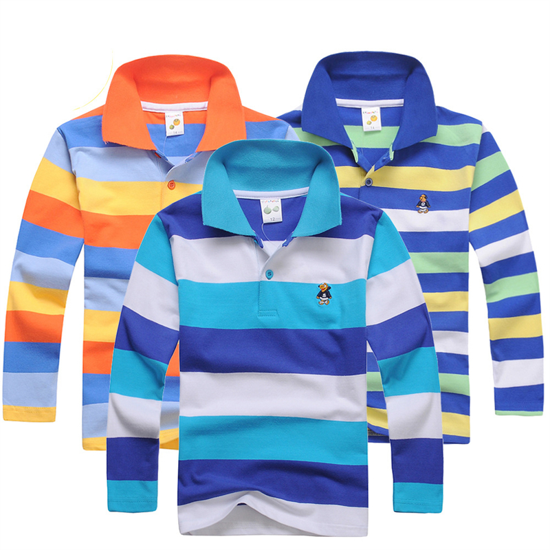 Polo Shirt Kids Clothes Tops Color Stripes Turn-down Collar Autumn Long Sleeve Polos Tops Baby Boys Motion Shirts Teen 3-15 Year
