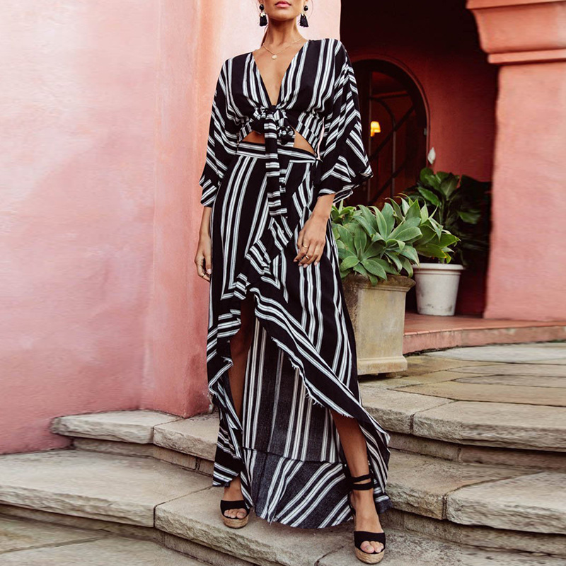Sen Silk 2019 Spring-Summer-European And American Fashion Dress Set Loose-Fit Women's Striped Slit Skirt Hot Selling