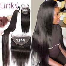 Links brasileiro 100% tecer cabelo humano 3 4 pacotes com frontal 30 40 Polegada em linha reta remy pacotes com fechamento e rendas frontal