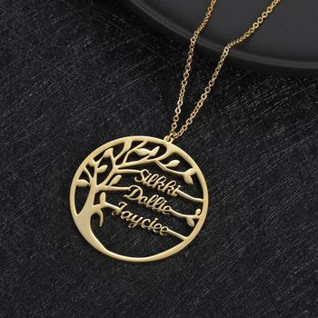 Zciti Statement Family Tree Necklace For Women Customized  Name Gold Color Stainless Steel Personalized Jewelry Christmas Gift 2019 family stainless steel necklace women jewlery silver color dad mum and son statement necklace jewelry gargantilla n18018
