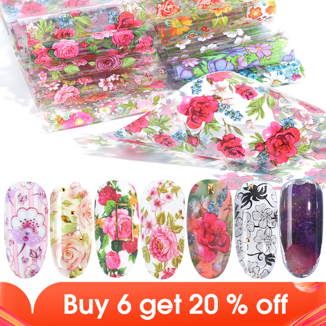 10pcs Colorful Flowers Stickers On Nails Foil Transfer Starry Sky Summer Sliders For Manicure Nail Art Decals Decoration JI798