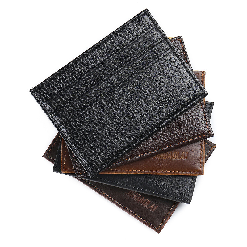 Men Slim Soft Business Credit Card Holder PU Leather Fashion Vintage Wallet Retro Texture Mini ID Holders Black Bank Case Purse