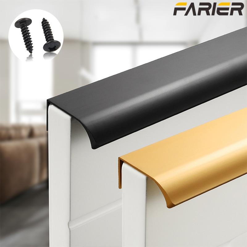 Gold Black Hidden Cabinet Pulls Aluminum Alloy Kitchen Cupboard Handles Drawer Knobs Furniture Handle Bedroom Hardware