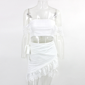 Image 4 - PFFLOOK Summer Lace Sexy Two Piece Set White Sashes Crop Top Skirt Bodycon Sexy Backless Club Party 2 Piece Set Women Suit 2020