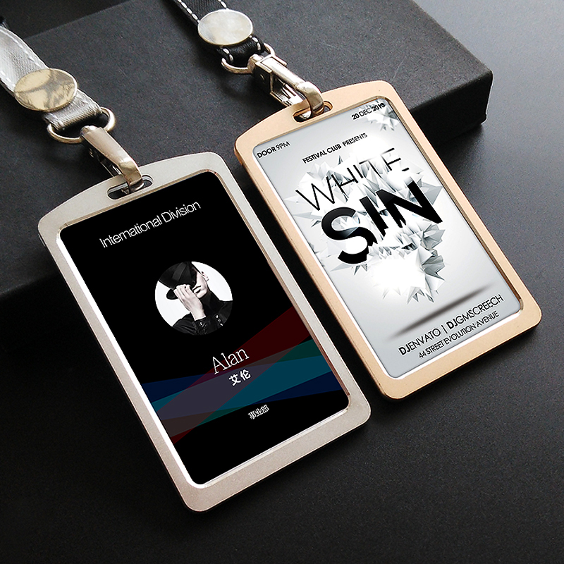 High Quality Business Card Aluminum Alloy Metal Work Card Badge With Grey Lanyard Id Holders For Men Women