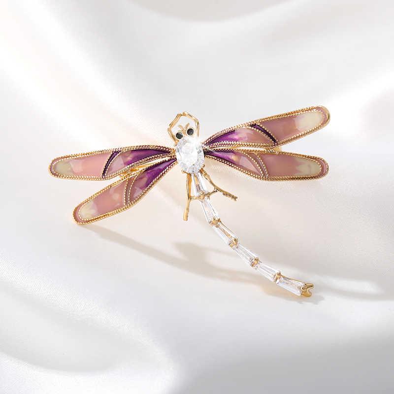 Crystal Vintage Dragonfly broszki dla kobiet duży owad cyrkon broszka Pin moda elegancki płaszcz akcesoria śliczny biżuteria prezent