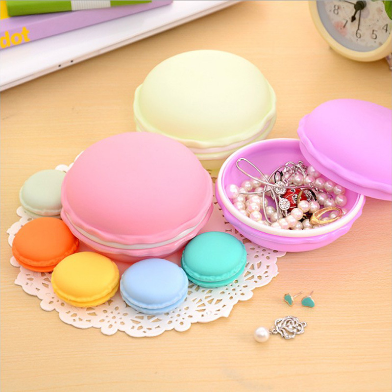 New Arrival Circle Cute Macaroon Cookie Design Candy Color Mini Storage Box Jewelry Box