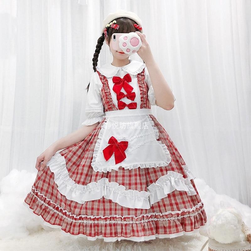 Купить японская одежда kawaii платье лолиты для горничной в клетку