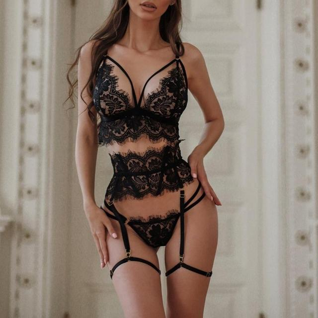 New Lace Sexy Lingerie Transparent Hot Porno Lace Erotic Underwear Sexy Bra Set And Garter Lingerie Sexy Hot Erotic Sleepwear 4