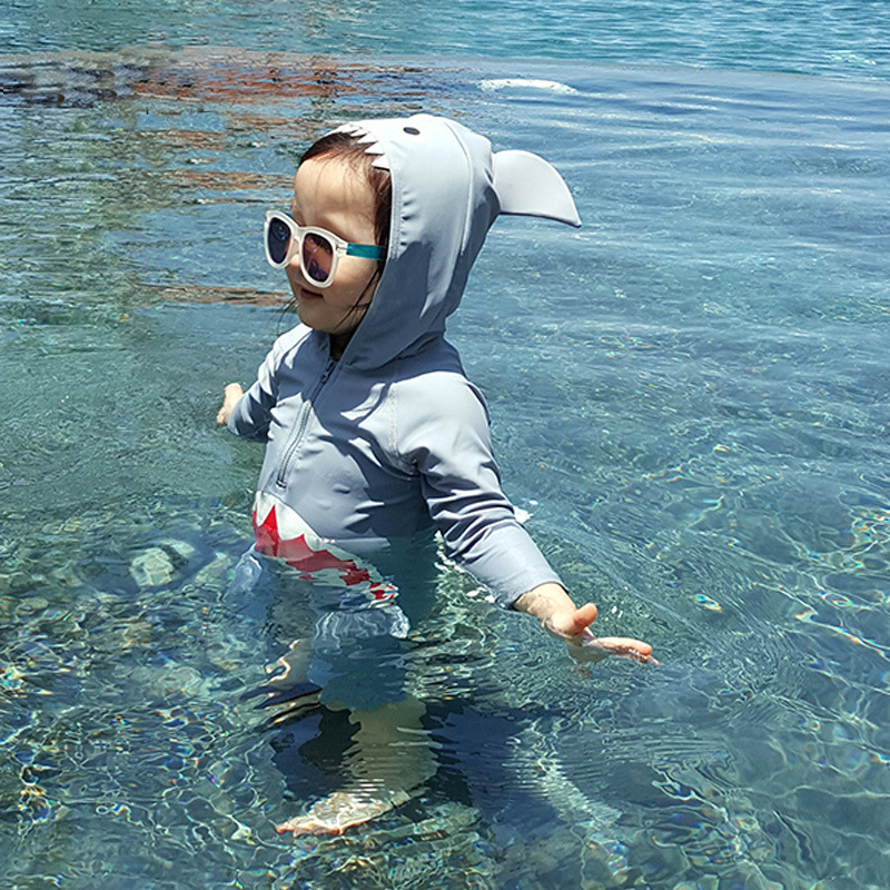 KID'S Swimwear BOY'S Girls Siamese Swimsuit CHILDREN'S Children CHILDREN'S Baby Quick-Dry Shark Swimming Trunks Set
