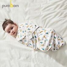 Pureborn Newborn Zip-up Swaddle Wrap Cotton Unisex Baby Receiving Blanket Bedding Cartoon Animal World Sleeping Bag Large Size