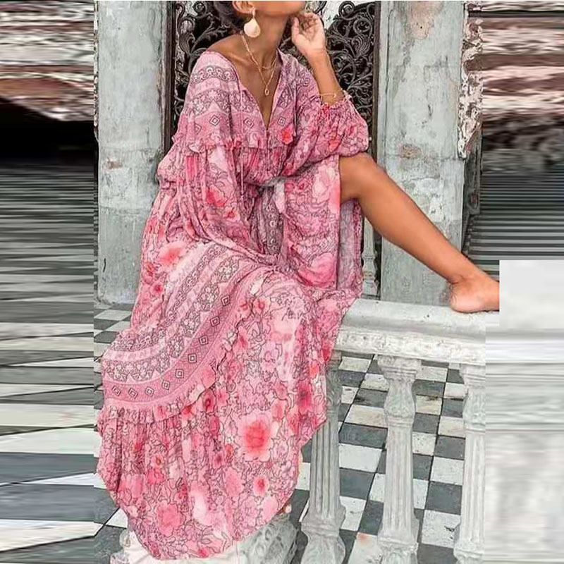 Boho Dress 2021 Spring Summer Floral Print Loose Long Party Dress Women Casual V-neck Lantern Sleeve Vintage Maxi Dress Vestidos