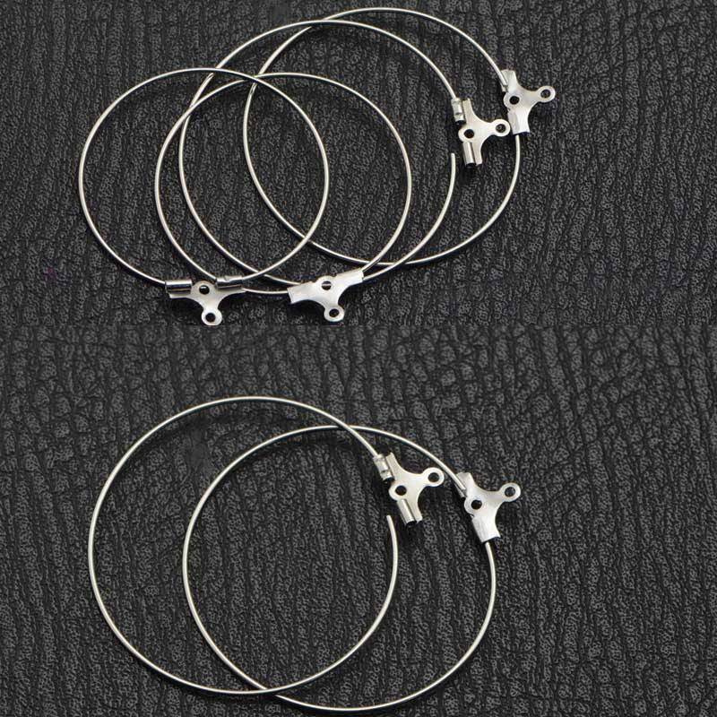 Hoop Earring Finding Beading-Tassel Jewelry-Making Steel-Ring for Round-Shaped 40mm/45mm